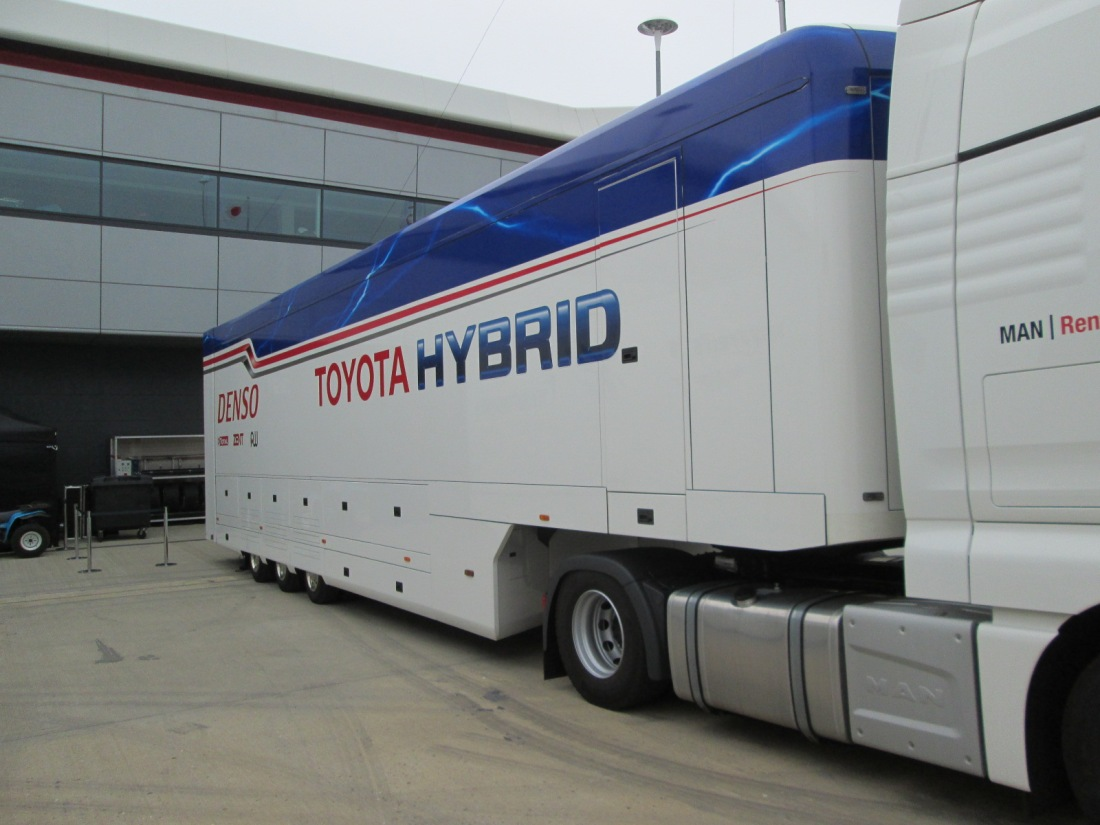 A shot of the Toyota motor home in the Silverstone paddock - Round 1 of the 2014 FIA World Endurance Championship.