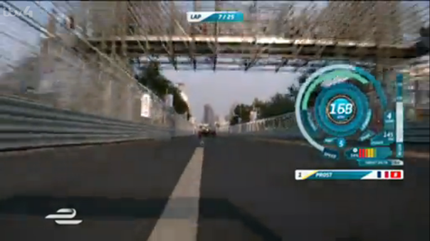 The speedometer on display during the inaugural Formula E race.