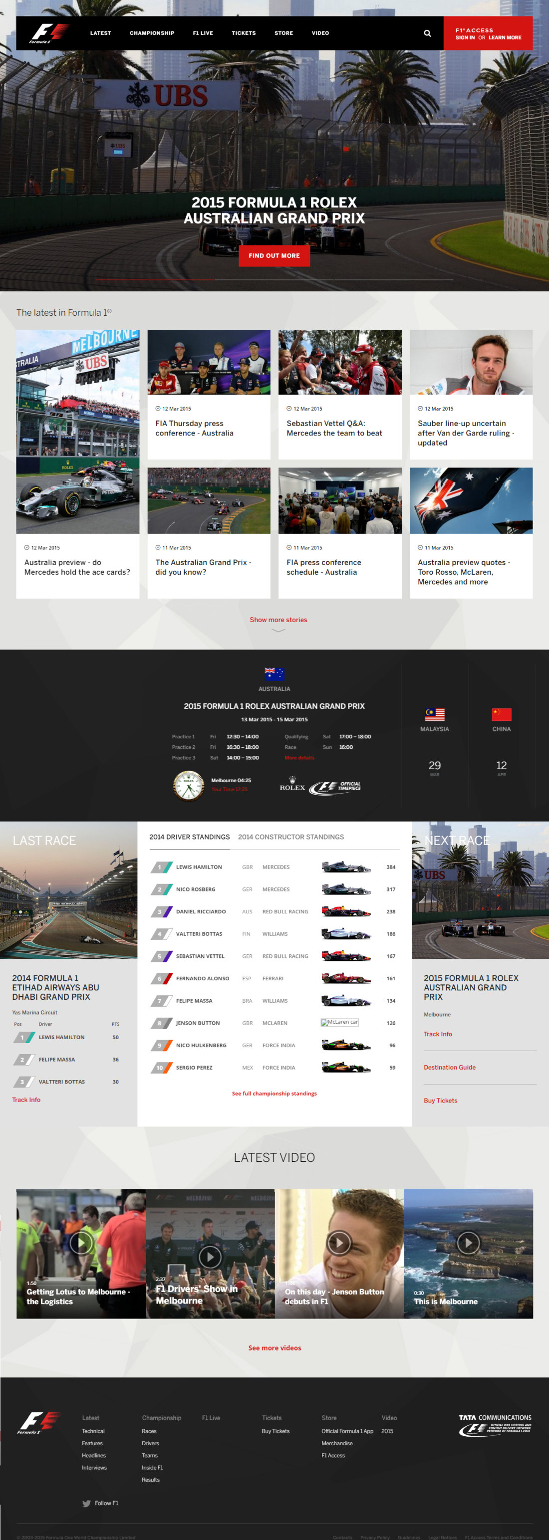 On the eve of the 2015 Australian Grand Prix, the homepage of the brand new Formula 1 website.