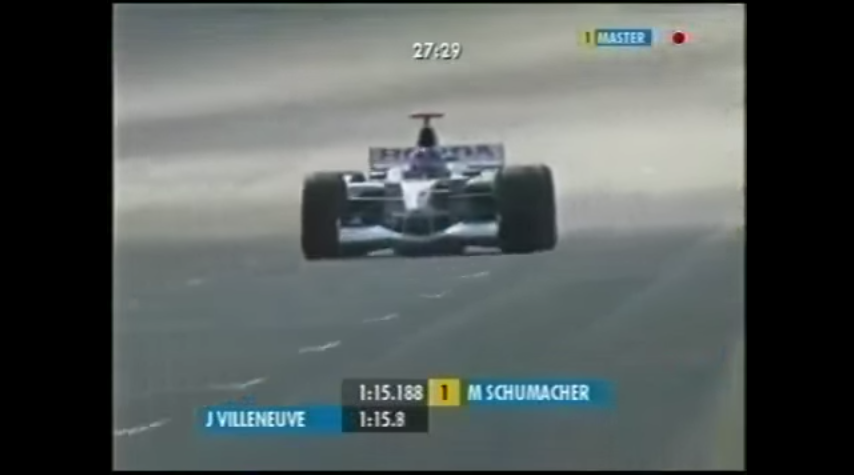 The F1 Digital+ graphics set in action during practice for the 2002 United States Grand Prix.