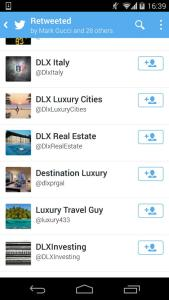 Accounts related to Destination Luxury 'mass retweeting' content related to Formula E.