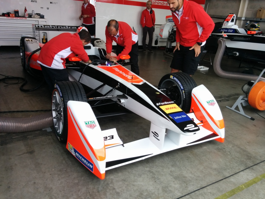 The Mahindra mechanics at work during day three of Formula E testing.