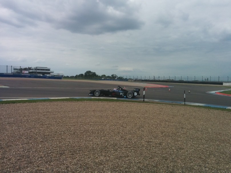 Sam Bird in the Virgin tackles the chicane on day three of Formula E testing at Donington Park.