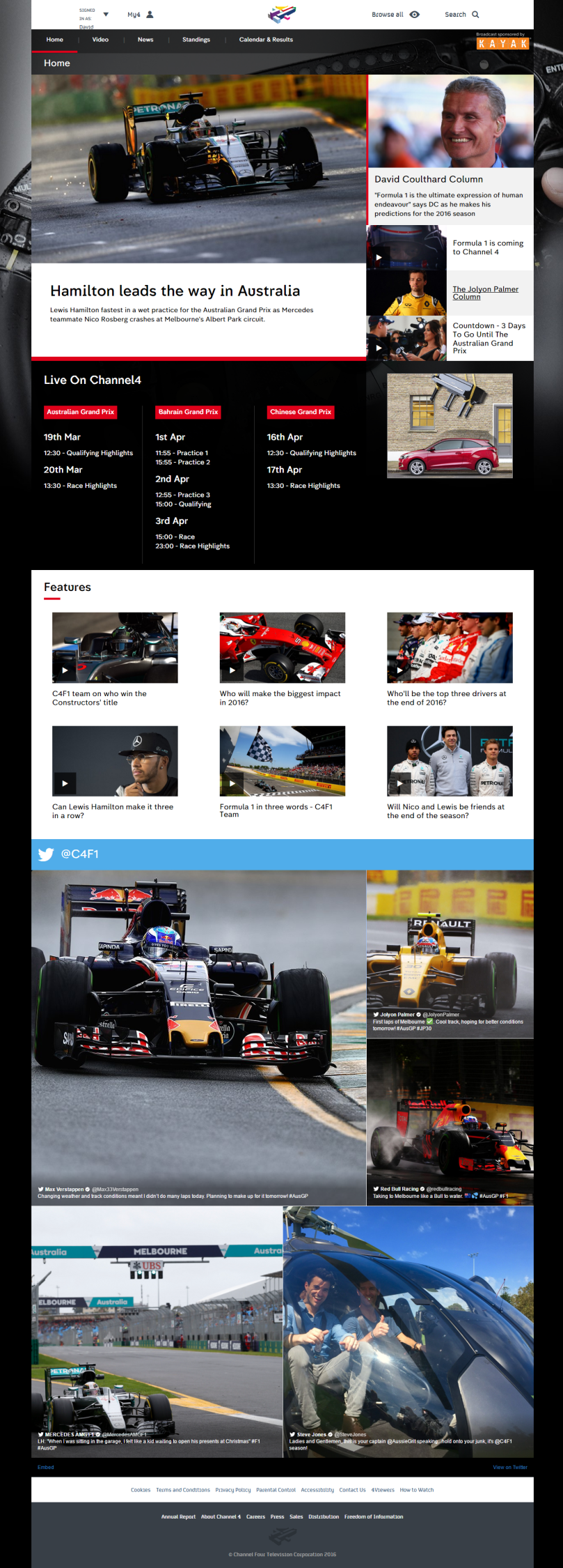 The homepage of Channel 4's new Formula 1 website.